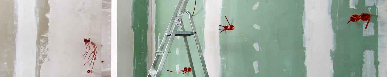 Mur prêt à être peint après la pose de plaques de plâtre