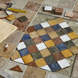 Pose de carrelages en mosaique